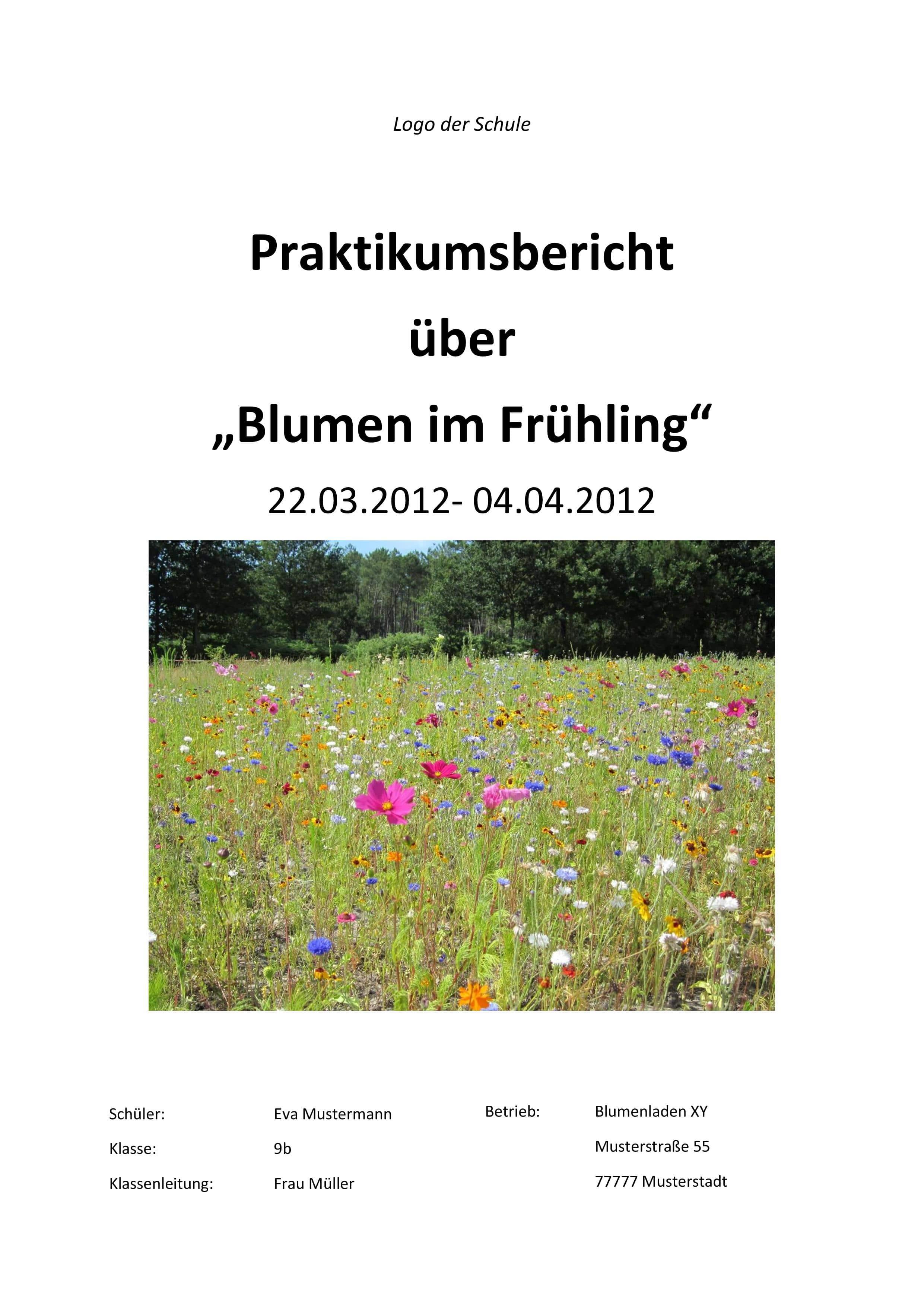 Deckblatt Praktikumsbericht Blumenladen