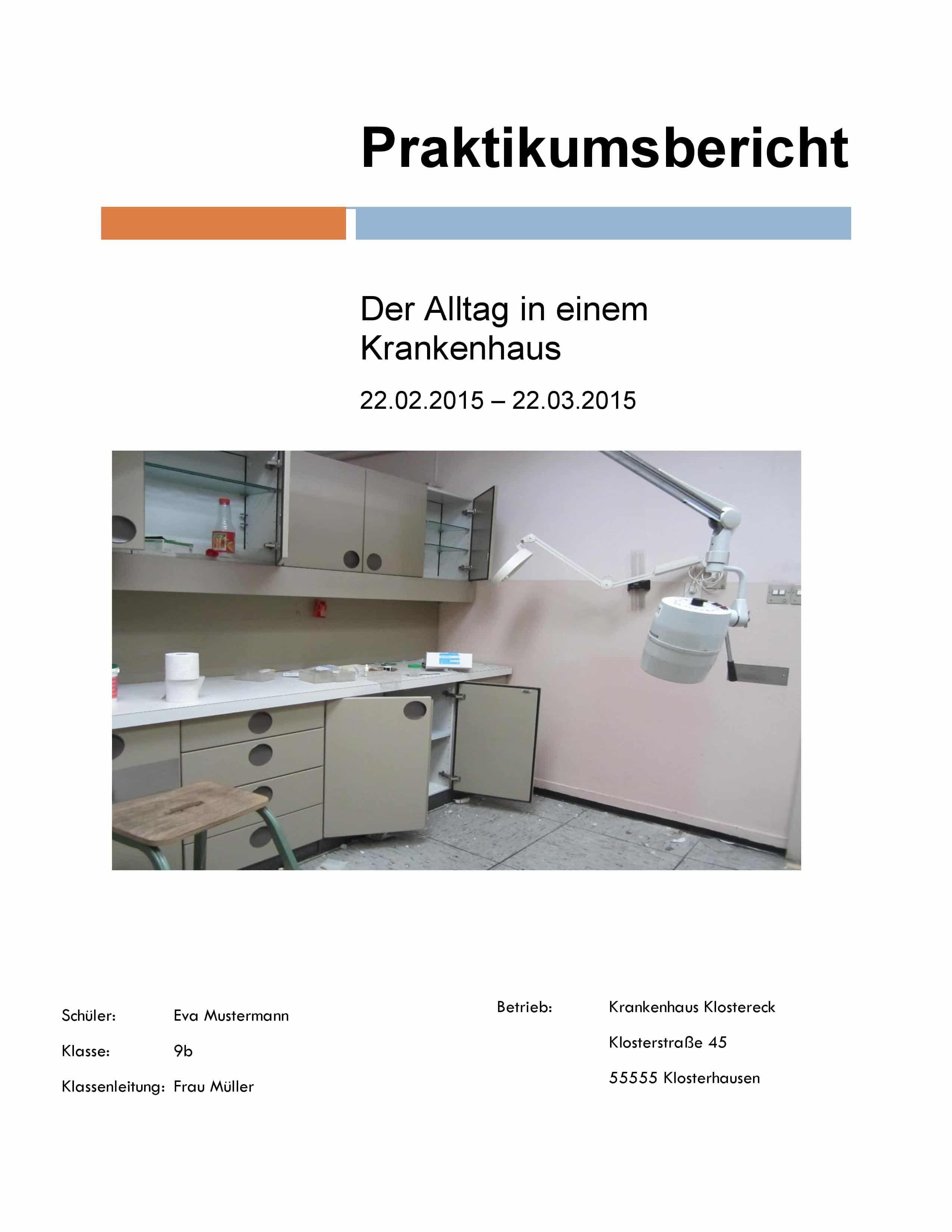 Praktikumsbericht Deckblatt Krankenhaus